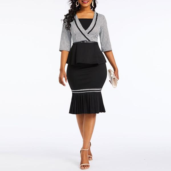 Kadın Zarif Ofis Lady Yaz Yeni Siyah Midi Etekler Suits Gömlek Bodycon Ekose Falbala Kadın Moda Bağbozumu Rahat Takım Elbise