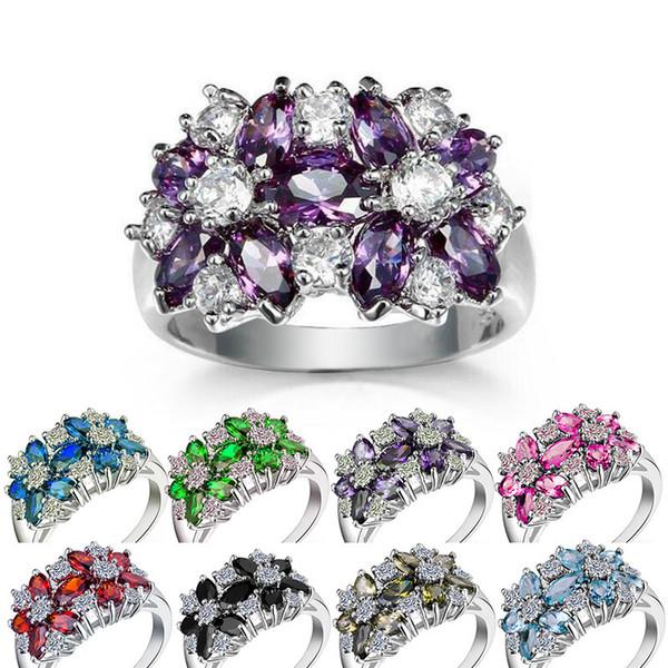 Argent 925 de luxe en cristal pierres précieuses anneau pour Lady Femmes Filles Bijoux cadeau Anneaux Designer 6/7/8/9/10