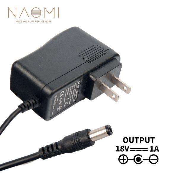 NAOMI Cargador de fuente de alimentación 18V 1A EE. UU. Adaptador de adaptador de fuente de alimentación Negro Para Pedal de efectos de guitarra Enchufe de EE. UU. Piezas de guitarra Accesorios