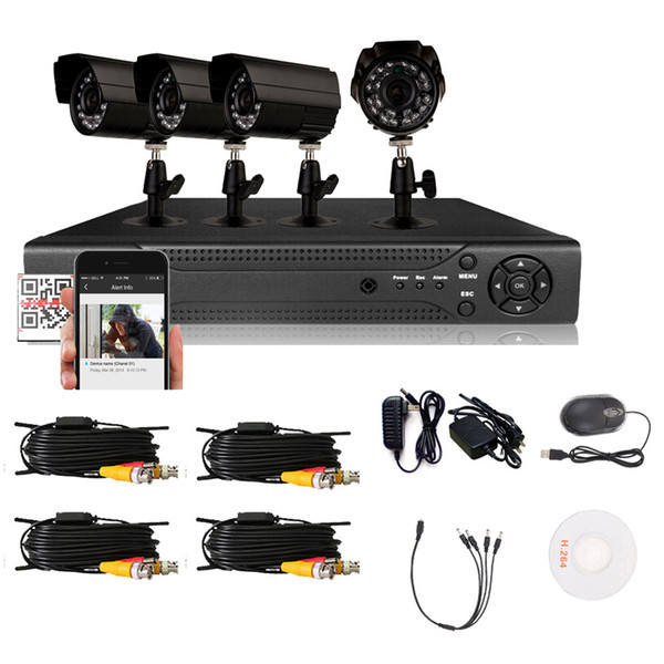 Hodely 4-Channel 1080N H Indoor/Outdoor DVR Kit with 4pcs 720P 1/4 Color CMOS Camera