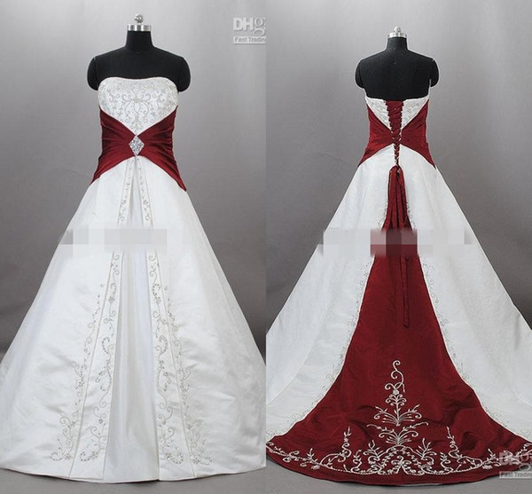 Junoesque Strapless Satin Embroidery Red And White Wedding Dresses