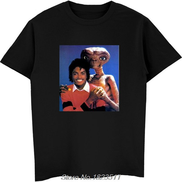 Michael Jackson & E.T T Shirt Shirts Tee Vintage Retro Thriller Men High Quality Tees Top Tee T-Shirt Harajuku