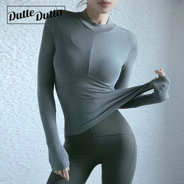 Thread Cotton Long Sleeve Gym Yoga Top Sport T Shirt Woman Sports Wear For Women Workout Tops T-shirt Fitness Running Tshirt