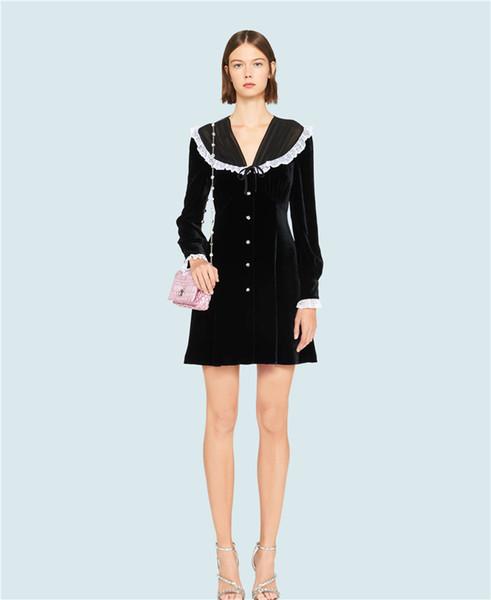 1225 2020 Frühlings-Sommer-freies Verschiffen Marke Same-Stil Kleider Flora-Druck einer Linie Langarm V-Ausschnitt-Kleid Changji
