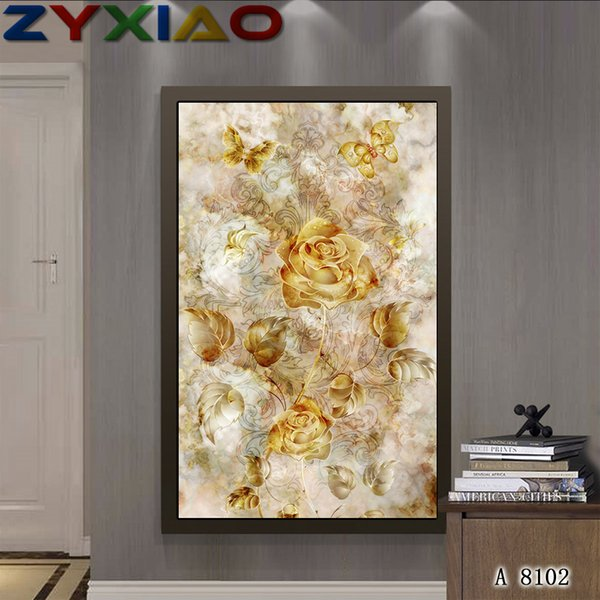 5D Diy diamante pintura punto de cruz kit completo roundsquare bordado de diamantes flor oro rosa casa mosaico decoración regalo sabiduría juguete A8102