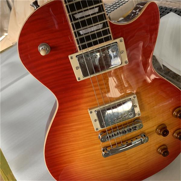 Fábrica guitarra frete grátis personalizado Standard Electric, corpo de mogno sólido com animador Sunburst Bege Top