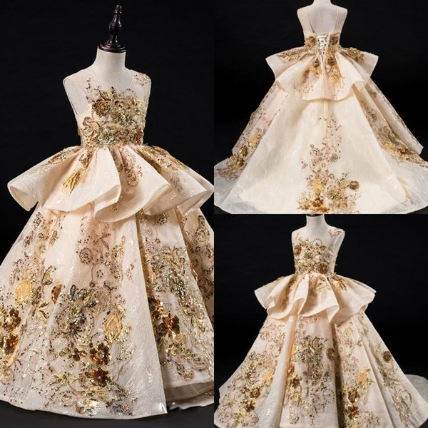 Luxury Flower Girl Dresses Ruffles Lace Applique Beads Bambini Pageant Wedding Evening Party Abiti da sposa Principesse Robes De Fête