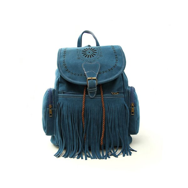 2019 Tassel Women Backpack Bag Retro Engraving And Fringe Design Women's Vintage Satchel Mochila Fab Women Bag