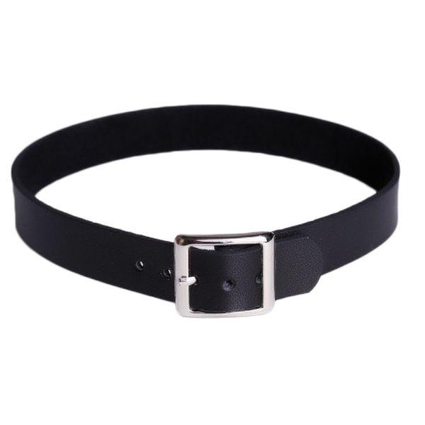 Minimalism Faux Leather Belt Buckle Collar Choker Punk Style Necklace