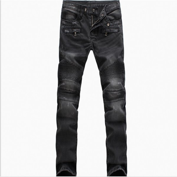 Biker Jeans man Moto Denim Men Fashion Brand Designer Ripped Distressed Joggers Washed Pleated motorcycle Jeans Pants Black Blue