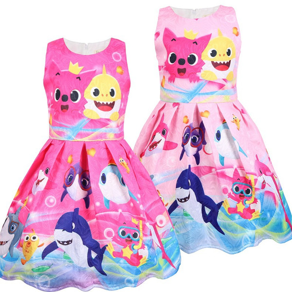 Girls dresses kids shark cat printed vest dress summer girls lace jacquard princess dress children cartoon anime printed pleated dress F7889