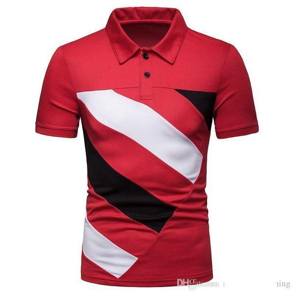 Patchwork luxo Designer Mens Polos lapela pescoço contraste cores Impresso Mens Tops Moda manga curta masculina t-shirt frete grátis