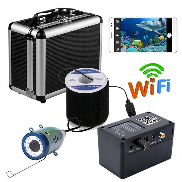 PDDHKK 1000TVL Videocamera per pesca subacquea Kit 12 PCS 1W LED luminosi bianchi APP per supporti Registra video e scatta foto