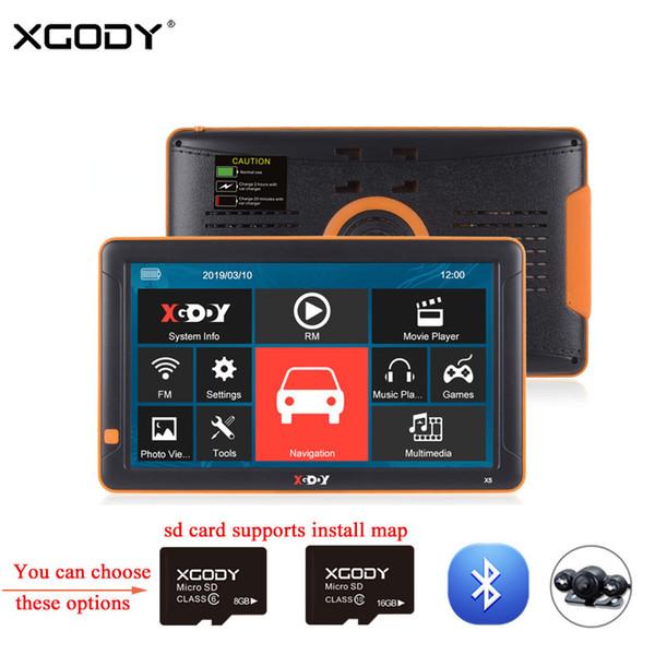 XGODY 9 '' Kamyon Araba Gps Navigasyon 256 M 8 GB Bluetooth Dikiz Kamera Opsiyonel 2018 Avrupa 2017 Rusya Navitel Harita Navigator