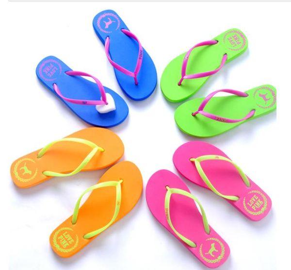 Girls Pink Flip Flops Love Pink Sandals Pink Letter Beach Slippers Shoes Summer Soft Beach Slipper 2pcs/pair 50pairs kids shoes