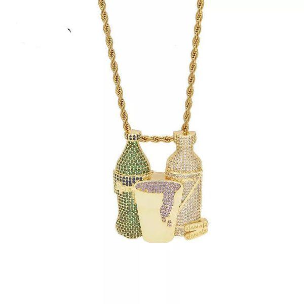 Iced Out Sprite Bottle Purple Cup Hip Hop Combo Pendant Necklace Gold Silver Color Cubic Zircon Men Hip Hop Jewelry Free Tennis Chain