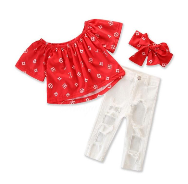 Kids Summer Baby Girls Clothing Sets Off Shoulder T Shirt + Hole Pants Girls Clothes set Children Clothes Child Top Trousers