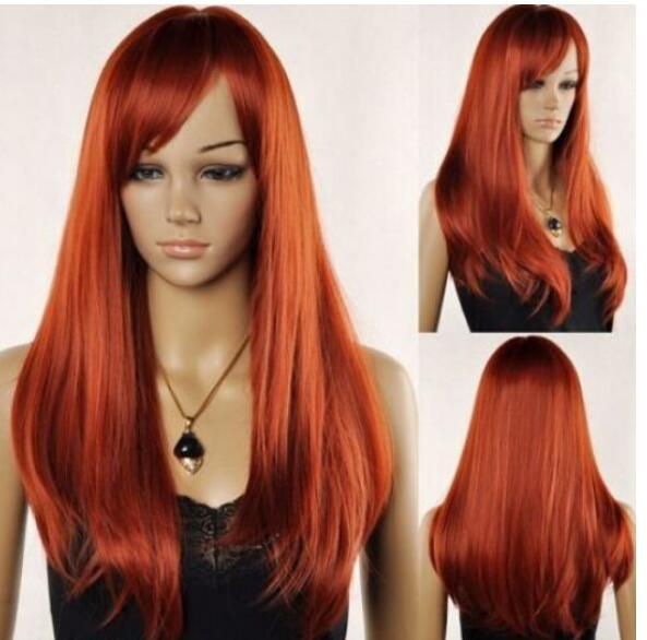 FREE SHIPPING++ New Women's Long Red Brown Straight Oblique Bangs Synthesis Cosplay Hair Wig