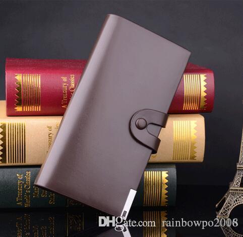 Venta de fábrica marca paquete personalidad hombre sosteniendo el monedero moda hebillas monedero largo cuero ocio joker hebillas billetera de cuero