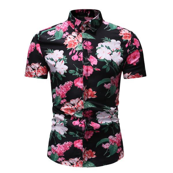 floral print shirt men casual shirts plus size summer shirts slim fit tops holidays wear 2019 new fashion black white