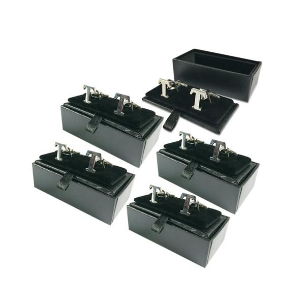 5Pcs/lot Quality Men's Cufflink Box Classicia Black Jewelry Gift Box Party Wedding Cufflink Storage Package Cases Box 8x4x3cm