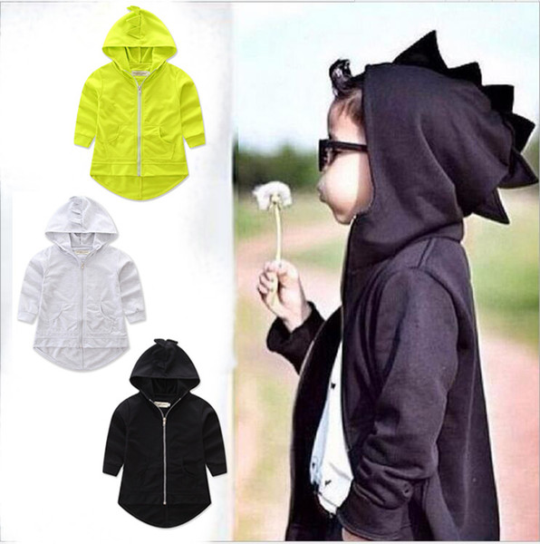 2019 Autumn baby girl boy hooded Sweatshirts long sleeve grey green dinosaur Zippered Coat free shipping
