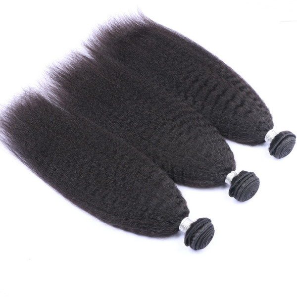 "Kinky Straight Mongolian Human Hair Weaves Extensions Italian Coarse Yaki Virgin Human Hair Bundles Deals 3Pcs Lot 10-30"" Hair Weaving"