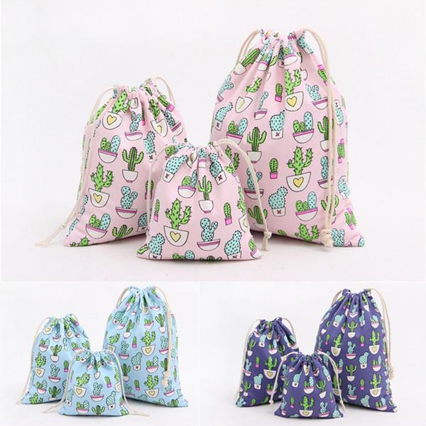 Cactus Cotton Linen Fabric Dustproof Bag Clothes Travel Storage Bag Portable Organizer Home Sundries Kids Toy Storage Bags