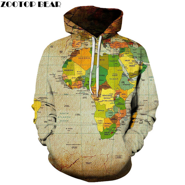 Desert Map Sweatshirts Unisex One Piece Hoodie 3D Print Pullover World Men Hoodies Streetwear Coat Spring Cloth Size