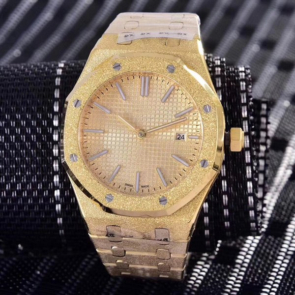 wholesale Diamond automatic Royal Frosted Black Dial Oak mens 18k Gold Watch Silver-tone hands Fixed bezel 42mm size glide mens watch