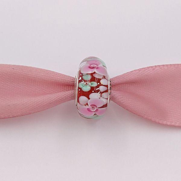 Authentische 925 Sterling Silber Perlen Flower Garden Murano Charm Charms passend für europäische Pandora Style Schmuck Armbänder Halskette Murano -P