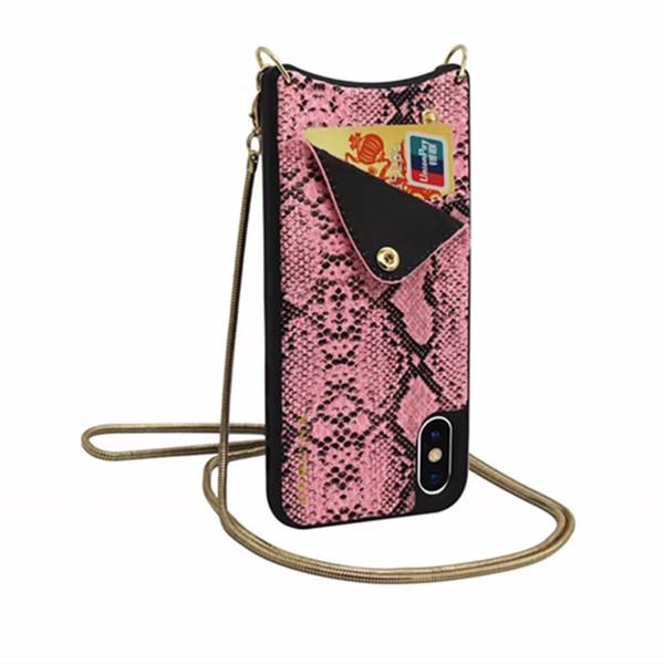 Mytoto Модный бренд змеиной кожи кожа металлическая цепь бумажник карты мягкий жесткий чехол для телефона для iphone 6 S 7 8 плюс X сексуальная милая крышка