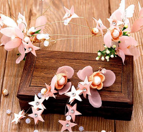 Nuovo copricapo da sposa con fiore rosa, vestito con orecchino, abito da sposa e accessori per abiti da sposa
