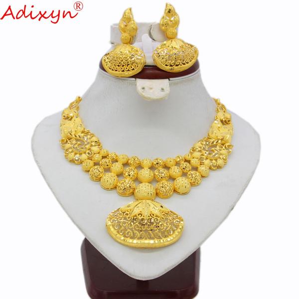 Adixyn Etnik Hindistan Kolye Küpe Set Takı Kadın Kızlar Altın Renk Arap / Etiyopya / Afrika Düğün Aksesuarları N03143