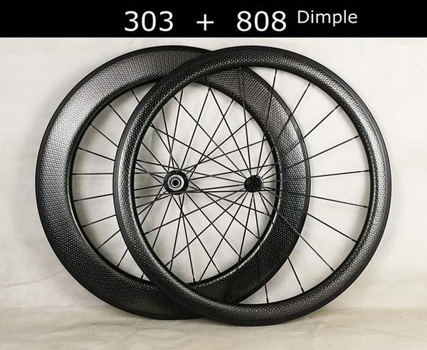 2 year warranty Full Carbon T700 700C Road carbon wheels 45mm+80mm dimple surface clincher tubular bike wheel,bike wheelset