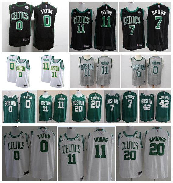 best loved b0a95 23f53 Boston Celtics 2019 New 11 Kyrie Irving Jerseys 0 Jayson Tatum 33 Larry  Bird 7 Jaylen Brown 12 Terry Rozier Jersey Discount Shoes Platform Heels  From ...