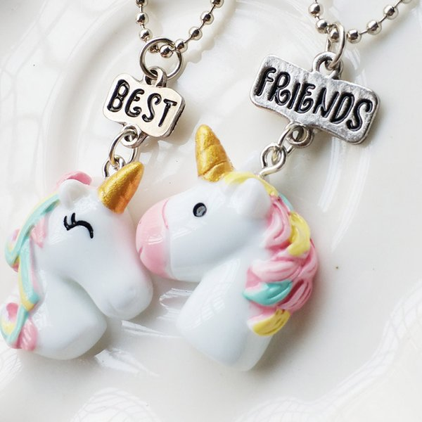 Unicorn Pendant Necklaces For Children Girls Best Friend Friendshipe Necklace Chain Jewelry Earrings