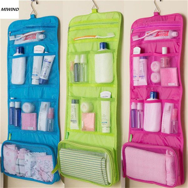 Hanging Travel Cosmetic Toiletry Bag Women Cosmetic Organizer Pouch Hanging Wash Bags Travel Polyester Zipper Case