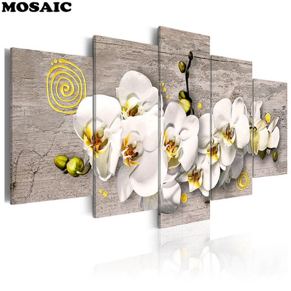 Multi-pictures Orchid Flower Full Square/Round Diamond Painting Crystal Mosaic Pattern Diamond Art Beads Cross Stitch Decoration