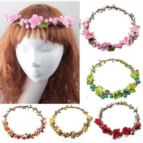 beach bride Artificial Berries Flower Headpiece Headband Hairband Head Wreath DIY Floral Bridal Garland Crown Halo Wedding Hair Accessories
