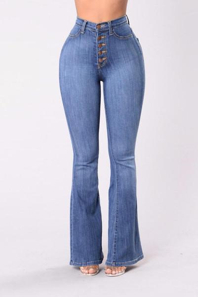 the cheapest lower price with performance sportswear Acheter 2018 Mode Wais Jeans Femme Pantalon Large Denim Basique Vintage  Fesses Taille Haute Et Bas De Cow Boy De $44.77 Du Gavinuni | DHgate.Com