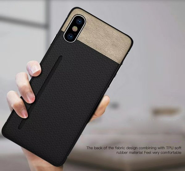 TPU Case for iphone X 7 8 6 7 plus 8 6 plus Phone Case Silicone Shockproof Card Slot Cloth Texture Back Cover