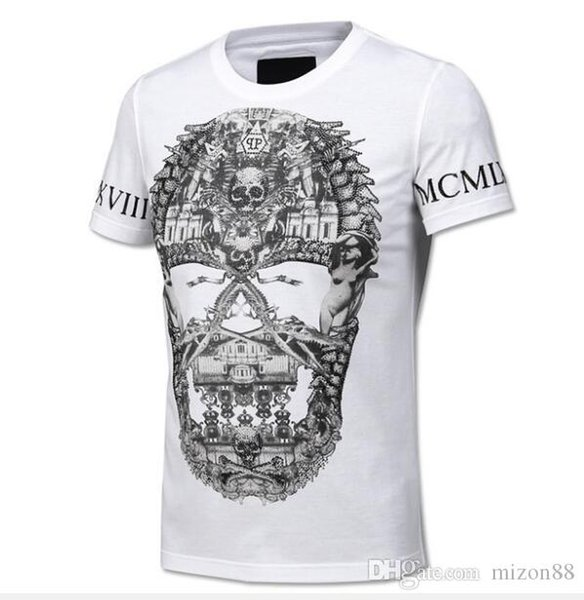 mens designer t shirts t shirt clothes of white tide brand hot drilling T-shirt short-sleeved men's round neck half-sleeved social 6XL