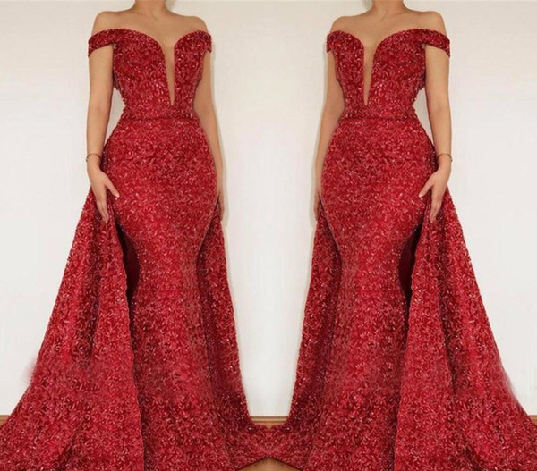 Red Off Shoulder Evening Dresses 2019 Latest Saudi Arabia Dubai Sequined Holiday Wear Formal Party Prom Gowns Plus Size
