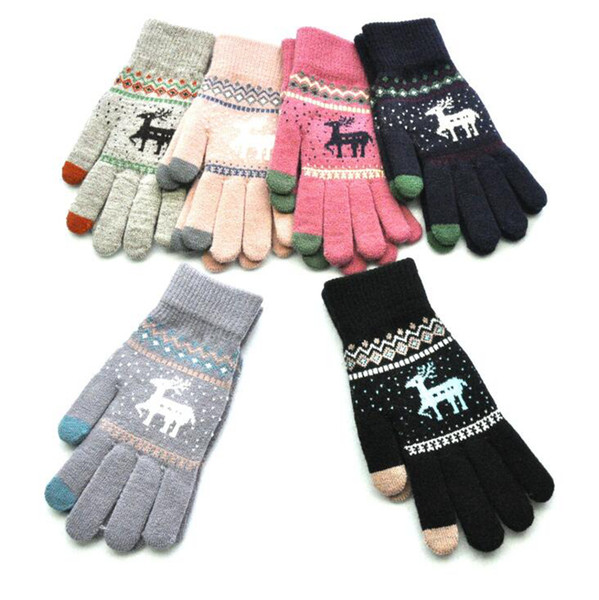 best selling Winter Touch Screen Gloves Christmas Elk Warm Knitted Soft Comfortable Stretch Deer Five Finger Mittens Outdoor Gloves OOA7303-1