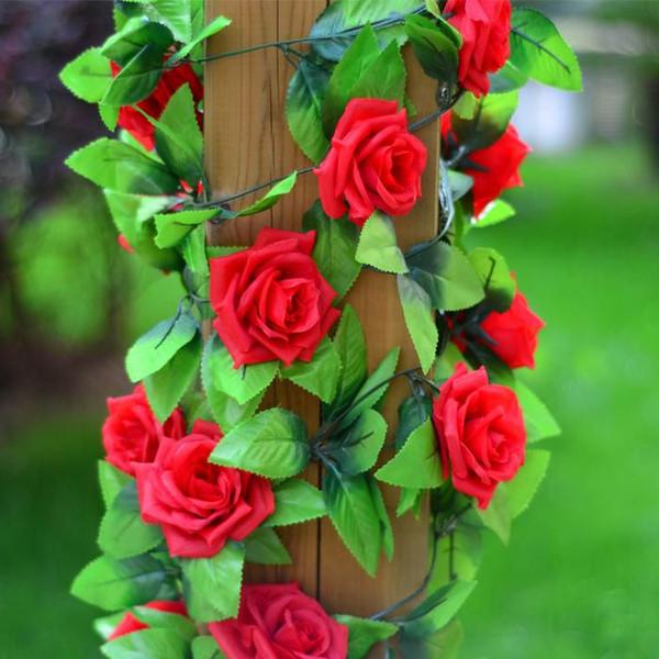 Großhandel-2,5 m Seide künstliche Rose Blume gefälschte künstliche Ivy Vine hängende Girlande nach Hause Hochzeit Dekor Party Dekoration