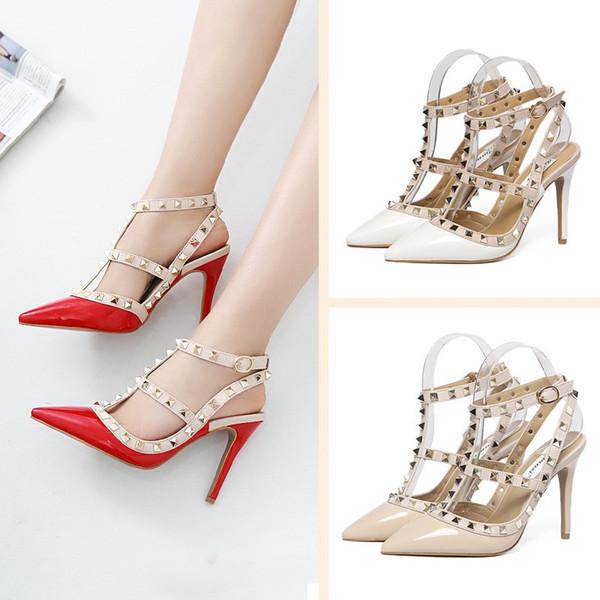 Moda de luxo designer de sapatos femininos 8 cm de salto alto studded sandálias sexy ladies sandálias de cunha vermelho fundo pico spike wedding party sandales femmes