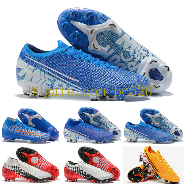 2019 Mens Mercurial Vapors XIII Elite FG Fußballschuhe Neymar Limited Blau CR7 Shuai Fly stricken 360 Superfly VII Victory Soccer Cleats 39-45