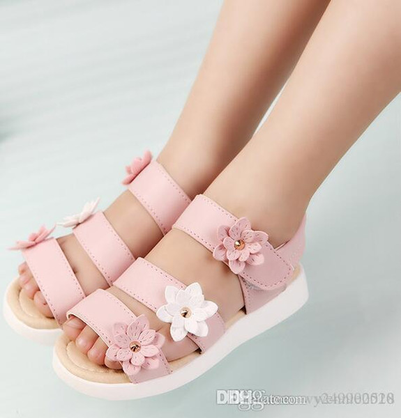 Summer Style Children Sandals Girls Princess Beautiful Flower Shoes Kids Flat Sandals Baby Girls Roman sandals