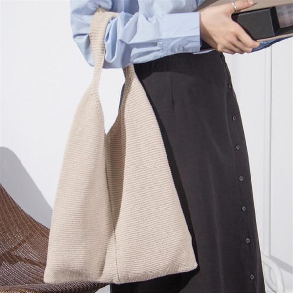 Women Wool Woven Handbags Comfortable Causal Knitted Bag Fashionable Simple Ladies All-match Handbag Crochet Shoulder Bags Bag